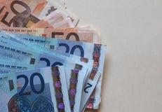 Ευρο- σημειώσεις της ΕΥΡ, ΕΕ της Ευρωπαϊκής Ένωσης με το διάστημα αντιγράφων Στοκ Εικόνα