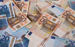 Ευρο- σημειώσεις της ΕΥΡ, ΕΕ της Ευρωπαϊκής Ένωσης Στοκ Φωτογραφίες