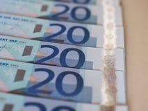 Ευρο- σημειώσεις της ΕΥΡ, ΕΕ της Ευρωπαϊκής Ένωσης Στοκ φωτογραφία με δικαίωμα ελεύθερης χρήσης