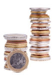 ευρο- σωρός νομισμάτων Στοκ εικόνα με δικαίωμα ελεύθερης χρήσης