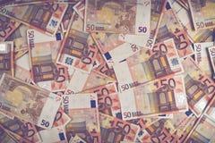 ευρο- σωρός πενήντα τραπε&z Στοκ εικόνες με δικαίωμα ελεύθερης χρήσης