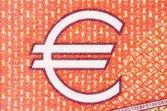 Ευρο- σύμβολο στο κόκκινο υπόβαθρο Στοκ Εικόνα