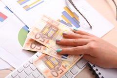 Ευρο- τράπεζα χρημάτων για τον προϋπολογισμό σας στην επένδυση Στοκ εικόνες με δικαίωμα ελεύθερης χρήσης
