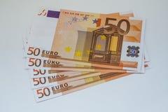 Ευρο- τραπεζογραμμάτια και μετρητά χρημάτων 50 ευρώ στοκ εικόνες