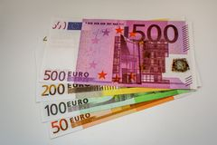Ευρο- τραπεζογραμμάτια και μετρητά χρημάτων 5 στοκ φωτογραφίες