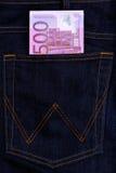 Ευρο- τραπεζογραμμάτια νομίσματος στην τσέπη τζιν Στοκ φωτογραφίες με δικαίωμα ελεύθερης χρήσης