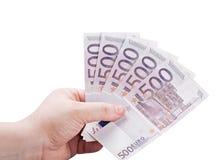 Ευρο- τραπεζογραμμάτια στα χέρια Στοκ εικόνες με δικαίωμα ελεύθερης χρήσης
