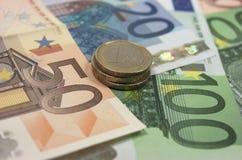 Ευρο- τραπεζογραμμάτια Στοκ Φωτογραφίες