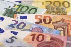 Ευρο- τραπεζογραμμάτιο και νόμισμα της Ευρώπης Στοκ Εικόνες