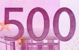 Ευρο- τραπεζογραμμάτιο πεντακόσια σε έναν μακρο πυροβολισμό Στοκ φωτογραφία με δικαίωμα ελεύθερης χρήσης