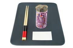 Ευρο- τραπεζογραμμάτιο υπό μορφή σουσιών που γεμίζονται με ομο Στοκ Εικόνες