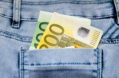 ευρο- τσέπη τραπεζογραμμ& Στοκ εικόνες με δικαίωμα ελεύθερης χρήσης