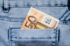 ευρο- τσέπη τραπεζογραμμ& Στοκ Εικόνα