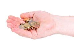 ευρο- χέρι νομισμάτων Στοκ φωτογραφία με δικαίωμα ελεύθερης χρήσης