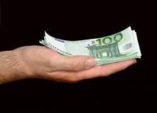 ευρο- χέρι τραπεζογραμμ&alpha Στοκ Εικόνα