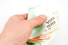 ευρο- χέρι τραπεζογραμμ&alpha Στοκ εικόνες με δικαίωμα ελεύθερης χρήσης