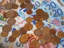 Ευρο- χαρτονομίσματα της ΕΥΡ και νομίσματα, ΕΕ της Ευρωπαϊκής Ένωσης Στοκ Εικόνες