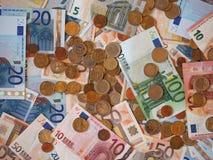 Ευρο- χαρτονομίσματα της ΕΥΡ και νομίσματα, ΕΕ της Ευρωπαϊκής Ένωσης Στοκ Φωτογραφία