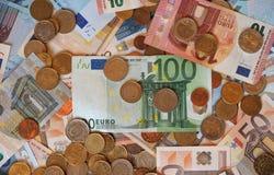 Ευρο- χαρτονομίσματα της ΕΥΡ και νομίσματα, ΕΕ της Ευρωπαϊκής Ένωσης Στοκ Εικόνα