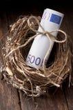 Ευρο- χρήματα αυγών φωλιών στοκ εικόνες