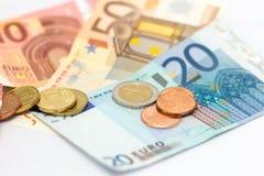 Ευρο- χρήματα σημειώσεων νομισμάτων Στοκ Εικόνα