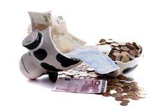 ευρο- χρήματα τραπεζών piggy Στοκ Εικόνες