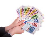 ευρο- χρήματα χεριών Στοκ εικόνες με δικαίωμα ελεύθερης χρήσης