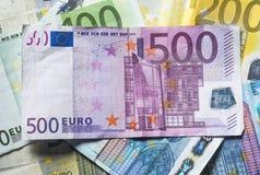 Ευρο- χρησιμοποιημένα τραπεζογραμμάτια, 500 ευρώ Στοκ Φωτογραφίες