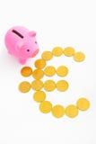 ευρο- piggy σημάδι τραπεζών Στοκ φωτογραφίες με δικαίωμα ελεύθερης χρήσης