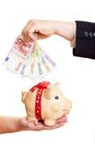 ευρο- piggy τοποθέτηση χρημάτω Στοκ Εικόνες