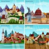 Ευρωπαϊκά εικονίδια έννοιας εικονικών παραστάσεων πόλης καθορισμένα ελεύθερη απεικόνιση δικαιώματος