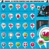 Ευρωπαϊκά εικονίδια γύρω από τις σημαίες δεικτών και το χάρτη Set3. Στοκ Εικόνες