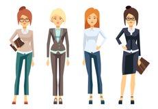 Ευρωπαϊκά ενδύματα επιχειρηματιών, νέο θηλυκό επαγγελματικό διανυσματικό σύνολο γυναικών ελεύθερη απεικόνιση δικαιώματος