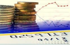 Ευρωπαϊκά κάρτα και διαγράμματα νομισμάτων πιστωτική Στοκ Εικόνες