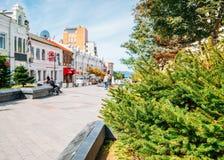 Ευρωπαϊκά κτήρια στην οδό Arbat στο Βλαδιβοστόκ, Ρωσία στοκ φωτογραφίες με δικαίωμα ελεύθερης χρήσης