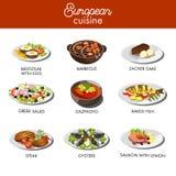 Ευρωπαϊκά πιάτα τροφίμων κουζίνας για το διανυσματικό πρότυπο επιλογών εστιατορίων ελεύθερη απεικόνιση δικαιώματος