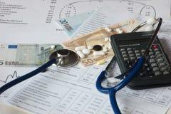Ευρωπαϊκά τραπεζογραμμάτια με το στηθοσκόπιο και τα φάρμακα στοκ φωτογραφία με δικαίωμα ελεύθερης χρήσης