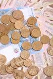 Ευρωπαϊκά χρήματα, ουκρανικό hryvnia Στοκ Εικόνες