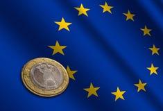 Ευρωπαϊκά χρήματα στη σημαία στοκ φωτογραφία με δικαίωμα ελεύθερης χρήσης
