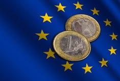 Ευρωπαϊκά χρήματα στη σημαία στοκ φωτογραφίες με δικαίωμα ελεύθερης χρήσης