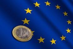 Ευρωπαϊκά χρήματα στη σημαία στοκ εικόνες με δικαίωμα ελεύθερης χρήσης