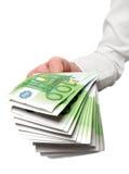 ευρωπαϊκά χρήματα χεριών στοκ φωτογραφία με δικαίωμα ελεύθερης χρήσης