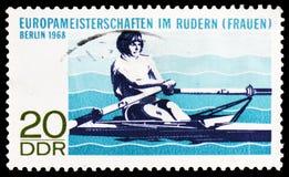Ευρωπαϊκά women's που κωπηλατούν τα πρωταθλήματα, Βερολίνο, πρωταθλήματα serie, circa 1968 στοκ εικόνες με δικαίωμα ελεύθερης χρήσης