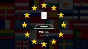 Ευρωπαϊκές εκλογές 2019 Ζωτικότητα των σημαιών όλων των χωρών της ΕΕ Ψηφοφορία! απόθεμα βίντεο