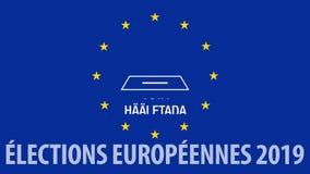 Ευρωπαϊκές εκλογές 2019 Τυπογραφικό παιχνίδι με τα ονόματα των χωρών της ΕΕ, τα αστέρια της σημαίας και του κάλπη φιλμ μικρού μήκους