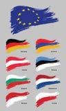 ευρωπαϊκές σημαίες ευρωπαϊκή ένωση διάνυσμα εικόνας απεικόνισης στοιχείων σχεδίου διανυσματική απεικόνιση
