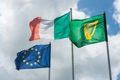 ευρωπαϊκές σημαίες ιρλα&nu Στοκ εικόνα με δικαίωμα ελεύθερης χρήσης