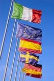Ευρωπαϊκές σημαίες που ρέουν στον αέρα Στοκ εικόνα με δικαίωμα ελεύθερης χρήσης