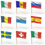 ευρωπαϊκές σημαίες συλ&lamb Στοκ Φωτογραφίες