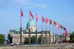 Ευρωπαϊκές σημαίες χωρών, Βουδαπέστη, Ουγγαρία Στοκ εικόνα με δικαίωμα ελεύθερης χρήσης